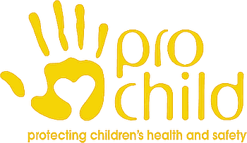 Mano stilizzata e scritta Prochild protecting children's health and safety